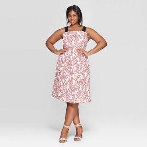 Who What Wear Leaf Print Contrast Strap Midi Dress